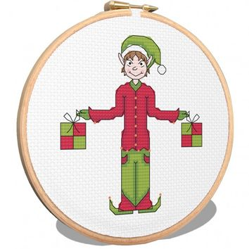 Christmas Elf Cross Stitch Pattern - StitchMeGifts