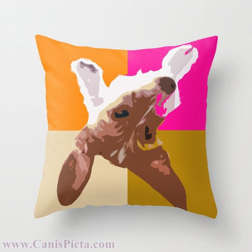 "Dachshund, Pet Graphic Print 16"" x 16"" Throw Pillow Cover - Couch Art, Orange, Tan, Hot Pink, Neon, Beige, White, Vibrant, Bright"