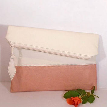 Peach wedding clutch for bride, Evening clutch bag, foldover leather clutch, cream leather purse, gift for bridesmaids, wedding cream clutch