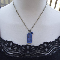Tardis Necklace - Antiqued Brass Hand Painted Tardis Necklace