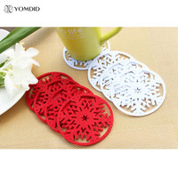 10 pcs/lot Snow Coasters For Christmas Decoration for home Snowflake Insulation Coasters Table Dcorative Coasters