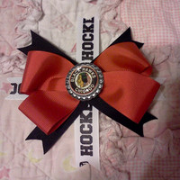 Chicago Blackhawks Bottle Cap Bow ALL NHL Teams Available 2 Versions