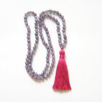 Aquamarine mala necklace tassel yoga jewelry, 108 bead malas knot necklace blue and pink, Buddhist necklace prayer beads