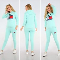 Tommy Hilfiger Adidas Casual Print Hoodie Top Sweater Pants Trousers Set Two-piece High quality Sportswear