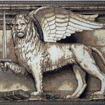 Lion with Sword Tapestry Wall Art Hanging