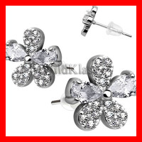 Pair of .925 Sterling Silver Multi Paved Chandelier Tiny Stud Earrings Cartilage Earring Helix Jewelry Tragus Piercing Hex Ring Conch