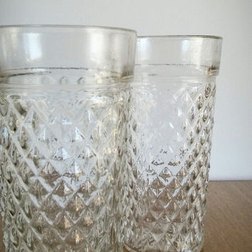 Anchor Hocking Glass Tumbler Diamond Patter, Hocking Depression Glass Tumblers