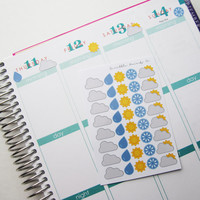 40 Various Weather Stickers Die-Cut Stickers // (Perfect for Erin Condren Life Planners)