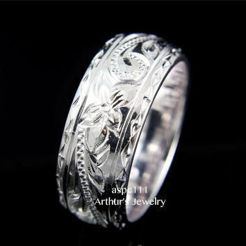 8MM SILVER 925 HAWAIIAN PLUMERIA SCROLL RING SMOOTH DIAMOND CUT EDGE THICK HEAVY