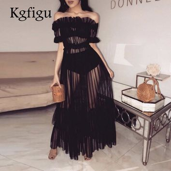 KGFIGU 2018 New Style Ruched Mesh long Dress Women Sexy Slash Neck sheer Lace maxi Dresses Nightclub Fashion Vestido Robe