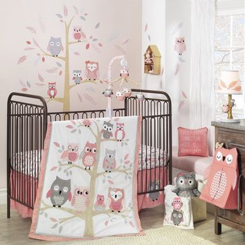 Lambs & Ivy Family Tree Coral Pink/White/Gold Tree with Owls 4-Piece Baby Crib Bedding Set