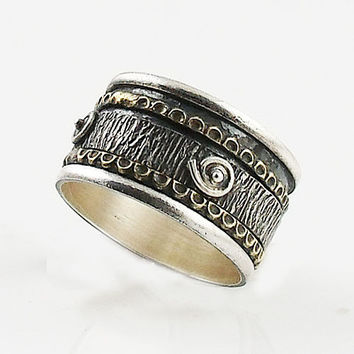 Spinner Ring - Two Tone Spiral Design