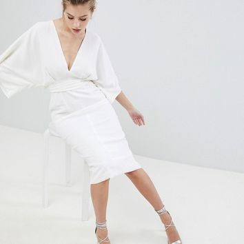 ASOS DESIGN Kimono Plunge Midi Dress at asos.com
