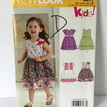 New Look 6277 Sewing Pattern Ruffle Party Dress Toddler Girls 1 2 3 4 New Uncut