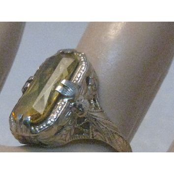 Vintage 14kt Art Deco Citrine Ring, Art Deco, Size 5.5, 2.75ctw, early 1900's