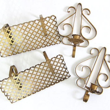 Mid Century gold Metal Shelves and hanging Candle holders / mesh filagree small wall shelves with candle holders