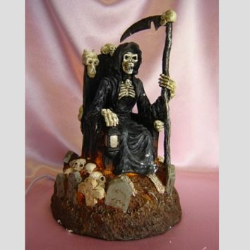 Grim Reaper on Throne Skulls Table Fragrance Aroma Lamp Oil Diffuser Wax Tart Candle Warmer Burner Home Decor