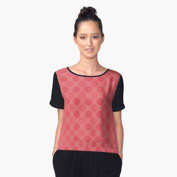 'Faded red circles pattern ' Women's Chiffon Top by steveball