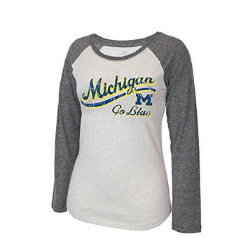 Womens NCAA Michigan Wolverines Long Sleeve Baseball Tee - S