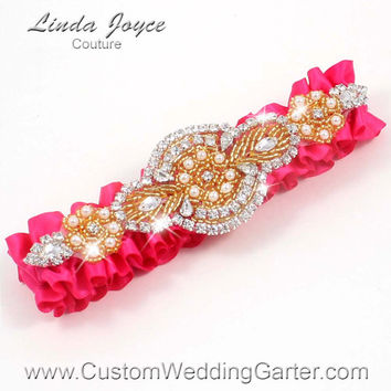 Hot Pink and Gold Vintage Wedding Garter Bridal Rhinestone 175 Hot Magenta Custom Luxury Prom Garter Plus Size & Queen Size Available
