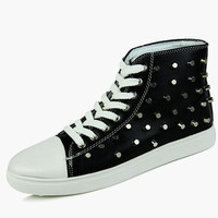 Studded Round Toe PU Leather Lace Up High-top Sneakers