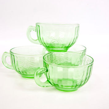 Vintage Green Depression Glass Embossed Three Fruits Pattern Tea Cups Coffee Mugs Optic Panel Set of 4