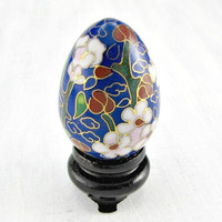 Vintage Chinese Cloisonne Enamel Egg, Brass Enamel Egg Decoration, Cobalt Blue Pink Floral Egg, 1960s Asian Art Figurine, Asian Home Decor