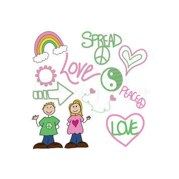 Instant Digital Download Peace and Love Clipart Clip Art Set Pink and Green PNG Doodles Graphic Illustration Transfer Overlay CU Ok