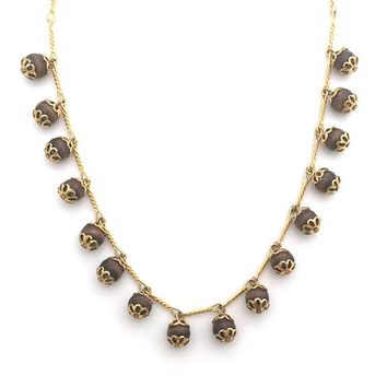 Round Wood Bead Gold Link Handmade Dangle Necklace