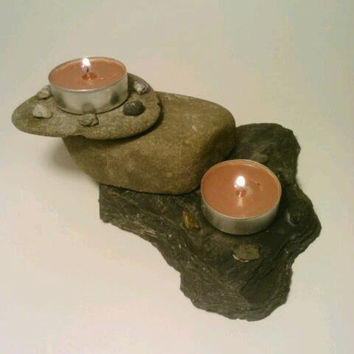 Slate and Rock Tealight Candle Holder by DeerwoodCreekGifts