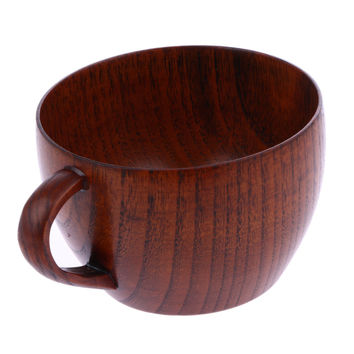 Natural Jujube Bar Wooden Cup with Handgrip Coffee Mug Tea Milk Travel Wine Beer Mugs for Home Bar