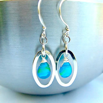 Aqua Blue and Silver Dangle Earrings, free shipping, OOAK earrings,