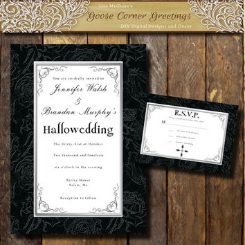 Printable Halloween Wedding Invitation Suite Hallowedding invitations Gothic invitation Black Rose invitations Wedding announcement Elegant