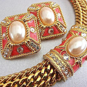 EDGAR BEREBI Salmon Pink Enamel Necklace Earrings Set Mesh Gold Tone Vintage