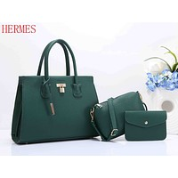 Hermes Stylish Trending Shopping Bag Women Leather Handbag Shoulder Bag Crossbody Purse Wallet Set Three Piece Green I-XS-PJ-BB