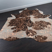 Premium Rose Gold Metallic Brazilian Cowhide Rug