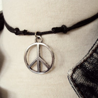 Large Peace Sign Necklace ~ Peace Symbol ~ Bohemian Jewelry ~ Hippie Choker ~ Boho Choker ~ Peace Necklace~ Hippie Necklace ~ Boho Necklace