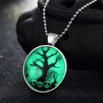 New Arrival Gift Jewelry Stylish Shiny Accessory Skull Terrible Noctilucent Necklace [8065788545]