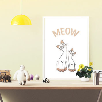Cats digital print, meow poster, nursery room, wall art printable, room decor, baby gift ideas, digital wall decor, toddler art illustration