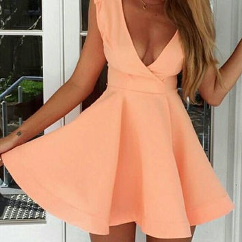 Pink Deep V Neck Sleeveless Mini Skater Dress