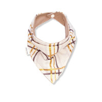 Baby Bandana Bib Scarf in Brown and Metallic Peralized Gold Plaid Designer Cotton with Snap for Girl