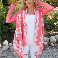 Happy Chevron Cardigan Coral