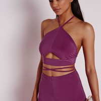 CUT OUT WRAP AROUND BRALET PURPLE
