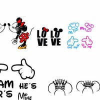 Mickey and Minnie matching vectors for serigraphy sublimation silhouette vinyl and more, svg, cdr, eps instant download