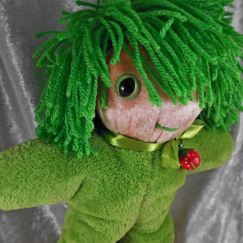 WILD Hair very green HOPE Bringer cute small Soft Forest Gnome DOLL - stuffed Toy sparkling eyes - designed and made in Berlin Germany