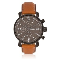 Fossil BQ2045 Men's Dark Gray Dial Tan Leather Strap Chronograph Watch