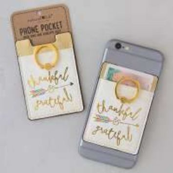 Thankful and Grateful Phone Pocket Ring