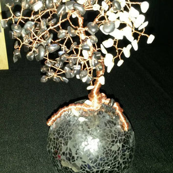 Ying yang hematite and mop shell agate on black mosaic sphere handmade copper wire wrapped tree of life