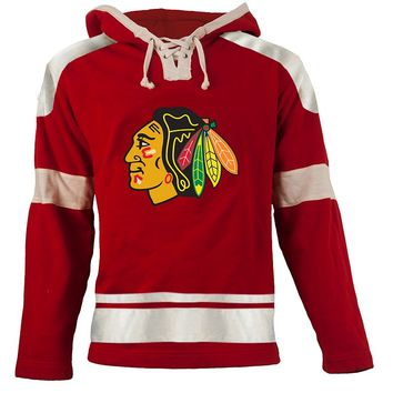 Old Time Hockey Chicago Blackhawks Grant Lace-Up Jersey Fleece Hoodie
