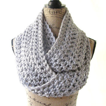 Ready To Ship Large Silver Light Grey Gray Chunky Scarf Fall Winter Women's Accessory Infinity